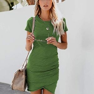 Leith Olive Ruched Body-Con Tee Dress